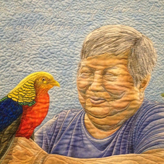"""Birds of a Feather"" painted quilt by Kathleen Kastles (detail)"